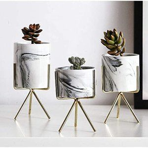 IRRIS Marble Iron Ceramics Flowerpot with Iron Rac